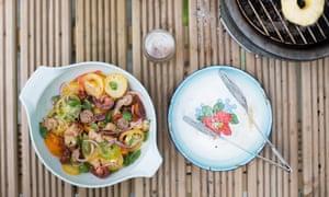 Barbecued sausage panzanella.