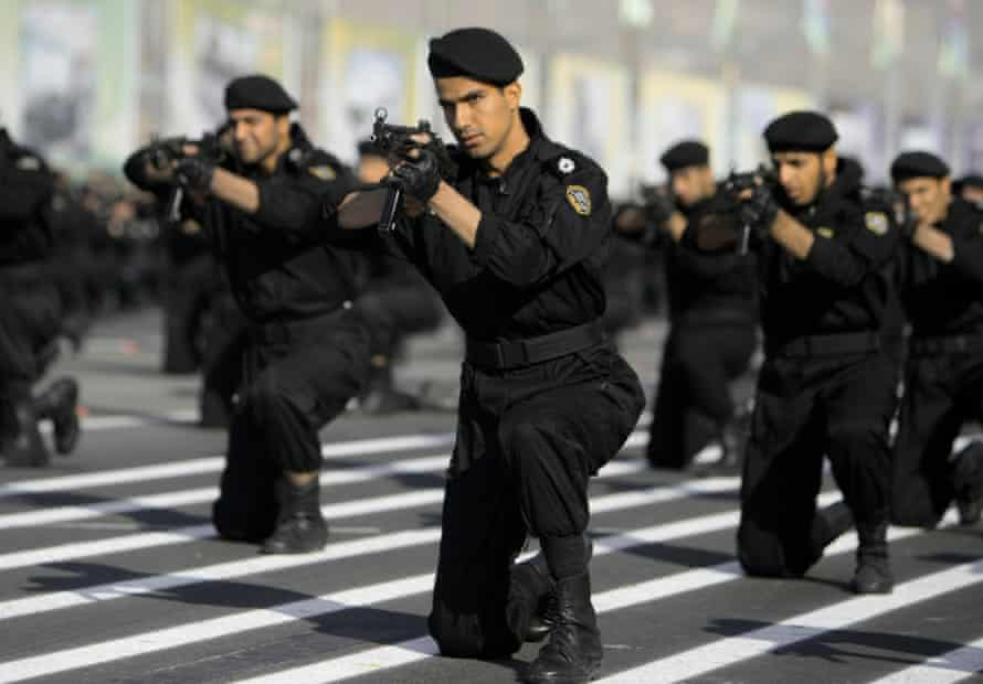 Members of the Iranian police special forces perform during a military parade in Tehran.