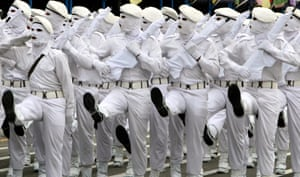 Iranian Army soldiers march during a military ceremony in Tehran on 18 April 2010, marking the annual National Army Day.