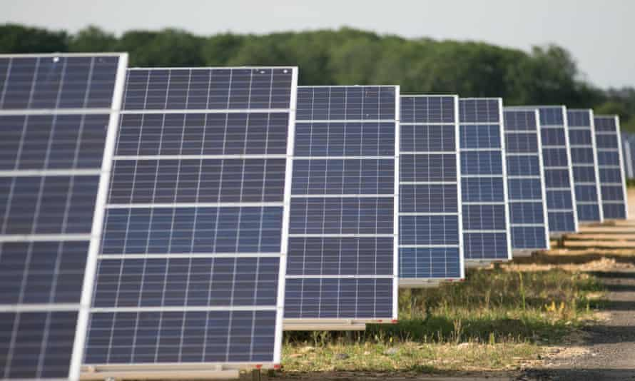 Solar panels at Kencot solar farm in Lechlade, Gloucestershire