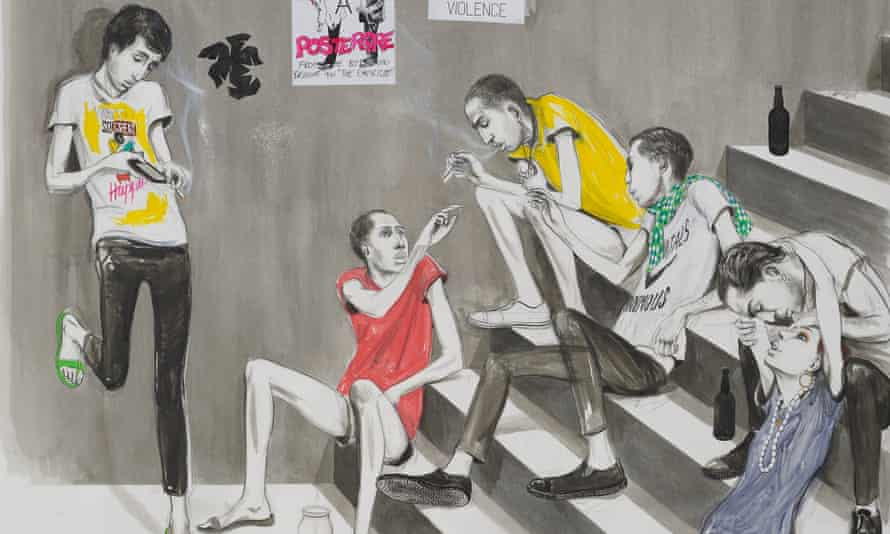 Charles Avery's Untitled (Youths Smoking on Steps, 2014 ).