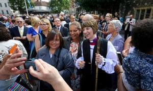 Rachel Treweek, the new bishop of Gloucester, outside Canterbury cathedral