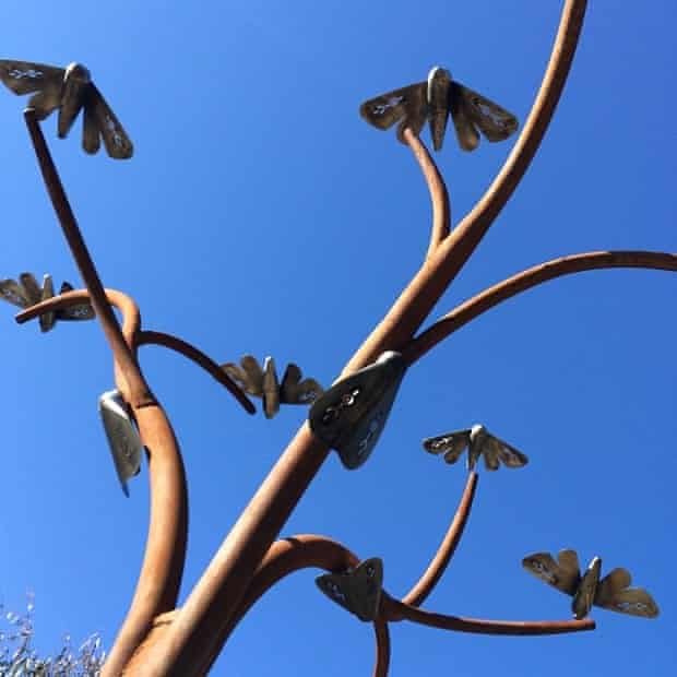 An Indigenous artwork along the Yindyamarra sculpture walk in Albury, NSW, representing the Bogong moth migration.