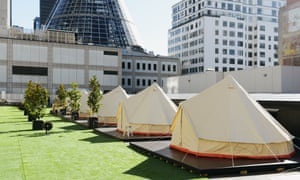 Camping on the rooftop of Melbourne Central at St Jeromes.