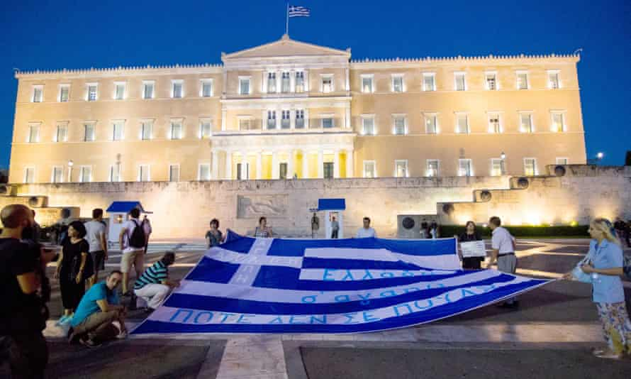 Protesters outside the Greek parliament, Athens, 22 July.