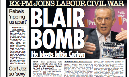 The Sun's take on the speech by about Jeremy Corbyn by Tony Blair