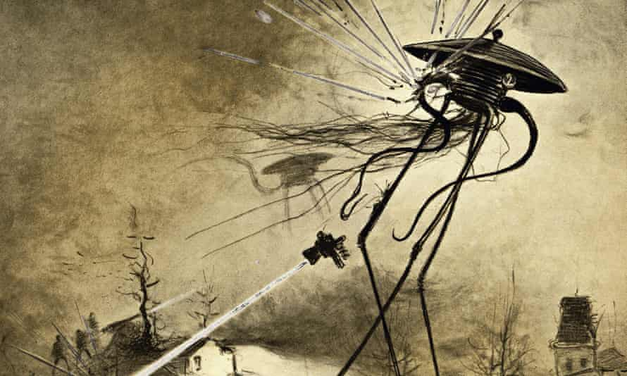 An illustration of Martians attacking from a 1906 edition of The War of the Worlds by H.G. Wells.