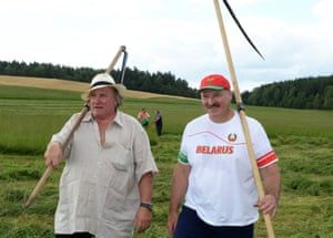 Lukashenko welcomes Depardieu, who took Russian citizenship in 2013 in the hope of escaping high taxes in France, to the grounds of his official residence