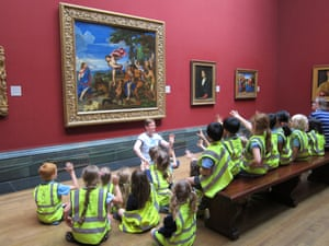 Children on a visit to the National Gallery, London.