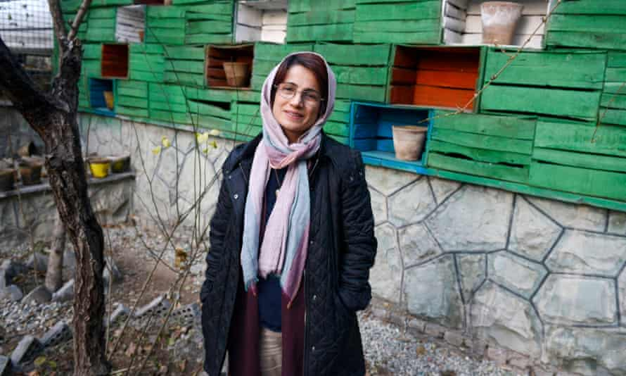 The prominent Iranian human rights lawyer Nasrin Sotoudeh photographed in the garden of her office in Tehran in late 2014.