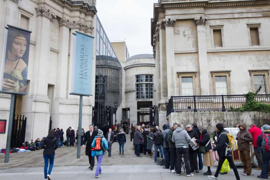 The long queue for day tickets to the sold-out Leonardo da Vinci exhibition at the National Gallery in 2012.