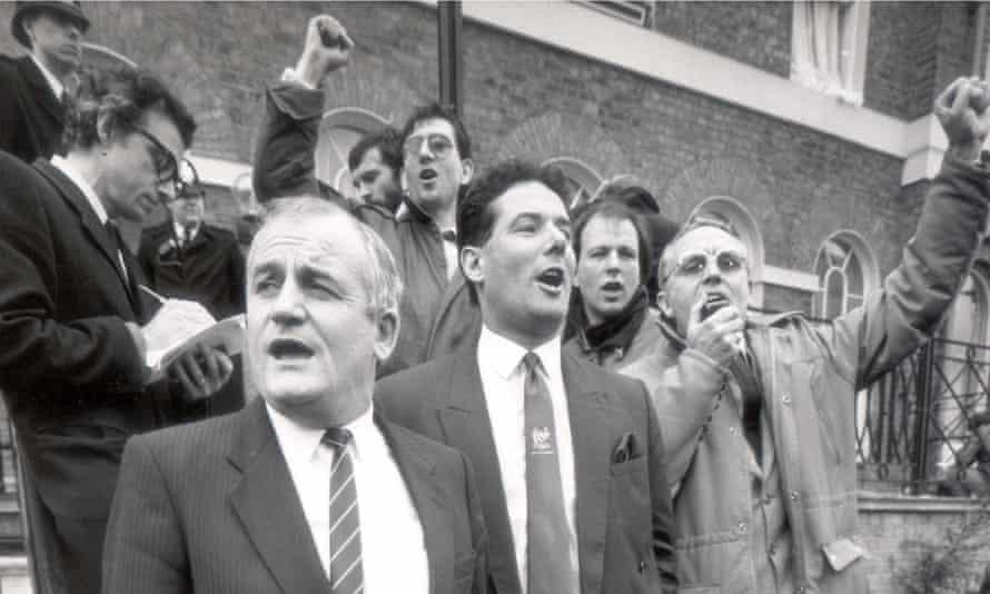 Derek Hatton Militant leader sings Internationale, Labour HQ