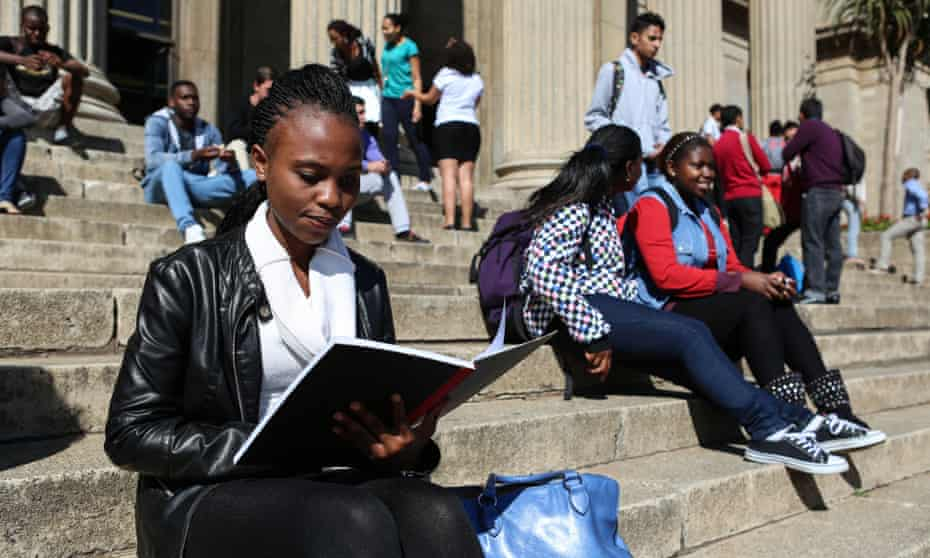 Girl sitting outside Wits University in Johannesburg, South Africa