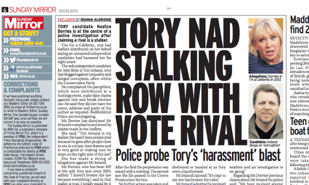 Ipso has cleared the Sunday Mirror over a complaint from the Tory MP Nadine Dorries.