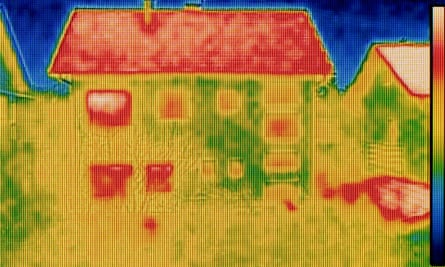 A thermal image of a home. Green deal loans helped people to insulate homes to make them more energy efficient.