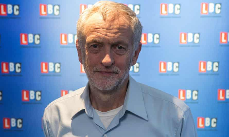 Jeremy Corbyn at LBC radio for a Labour leadership contenders' debate.