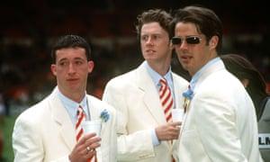 Robbie Fowler, Steve MacManaman and Jamie Redknapp look smart in their matching white suits.