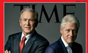 Bill Clinton and George Bush on the cover of Time magazine.
