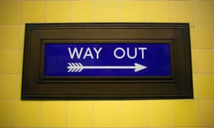 A 1930s Way Out sign in Southgate underground station, London