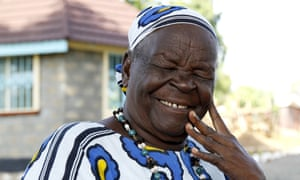 Sarah Hussein Obama, step-grandmother to the US president, smiles at their homestead in the village of K'Ogelo.