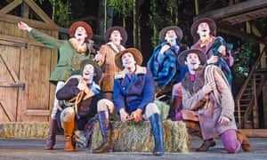 Family affair … Alex Gaumond, centre, as Adam, in Seven Brides for Seven Brothers at the Open Air theatre, Regent's Park.