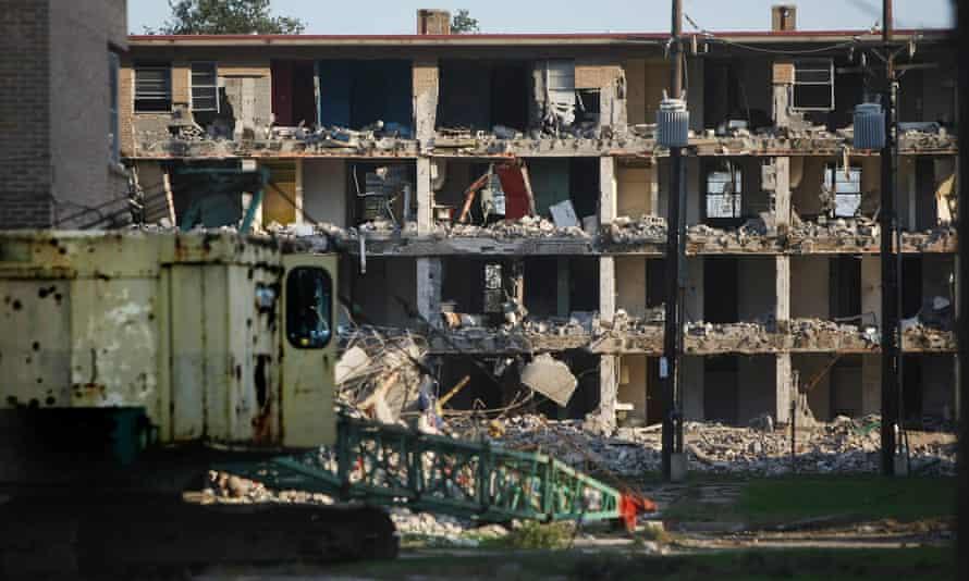 A partially demolished public housing development.