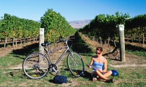 Woman sitting on ground next to her bicycle and checking map with vines behind.