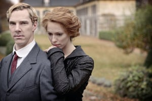 Benedict Cumberbatch with Rebecca Hall in the first world war television drama Parade's End.