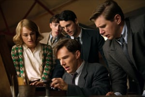 Keira Knightley, James Northcote, Matthew Goode and Allen Leech with Benedict Cumberbatch in The Imitation Game.