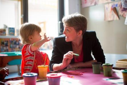Cooper with Finn Nicholson at the Golden Lane children's centre.