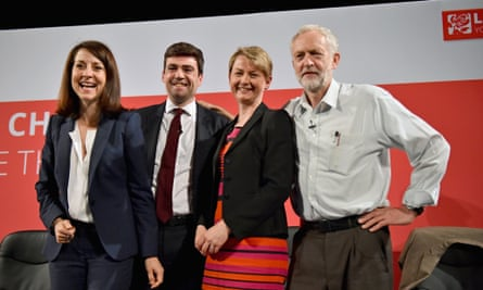 Candidates for Labour leader ... from left, Liz Kendall, Andy Burnham, Yvette Cooper  and Jeremy Corbyn.