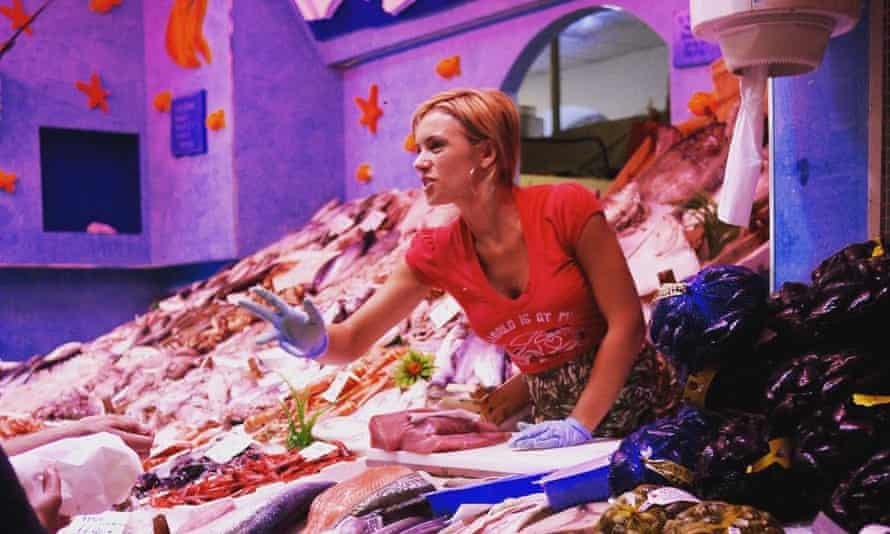 Fresh fish on sale at a market in Turin.