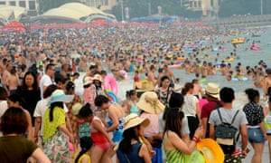A crowded beach in Qingdao, in east China's Shandong Province