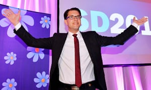 Sweden Democrats leader Jimmie Akesson celebrates his party's gains at the election last September.