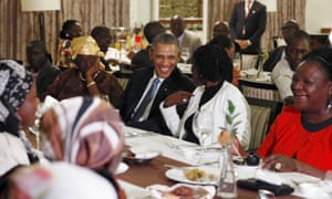 President Obama attends a private dinner with family members at his hotel restaurant after arriving in Nairobi.