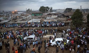 Crowds of Kenyans gather at Kamukunji Grounds in Kibera, Nairobi to celebrate the visit.