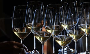Glasses of Saint-Emilion grand cru classe Chateau Yquem 2010.
