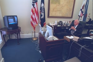 The vice-president, Dick Cheney, watches the terrorist attacks on television