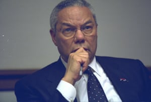 The secretary of state, Colin Powell, in the PEOC.