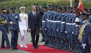 President Obama inspects the honour guard after arriving at State House in Nairobi.