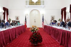 President Uhuru Kenyatta and President Obama participate in a bilateral meeting at the State House.