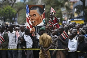 Crowds of Kenyans gather near the memorial park in the city centre.