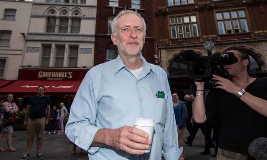 Jeremy Corbyn on his way to a radio Labour leadership hustings in London