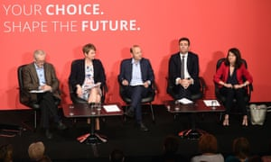 Jeremy Corbyn, left, with fellow candidates Yvette Cooper, Andy Burnham and Liz Kendall with journalist Paul Waugh (centre), at a Labour hustings event in Warrington on 25 July.