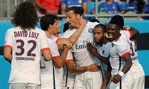 Zlatan Ibrahimovic, center, said Ángel Di María could lift PSG to another level after the Sweden striker scored against Chelsea in his side's pre-season defeat on penalties.