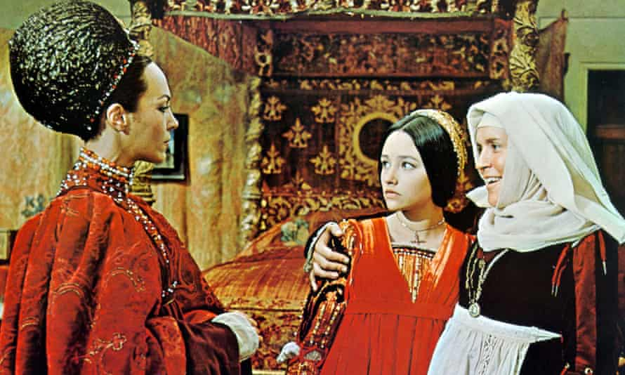 Natasha Parry, left, as Lady Capulet with Olivia Hussey as Juliet and Pat Heywood as the Nurse in Zeffirelli's film of Romeo and Juliet, 1968.