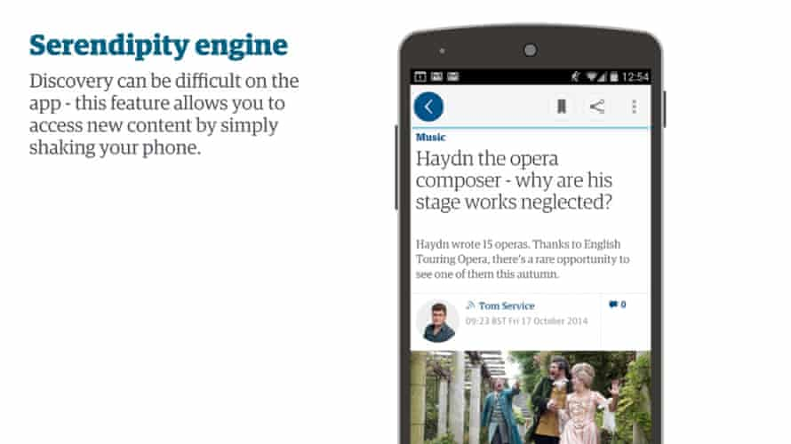 An idea where shaking the device would give the user a new related - or serendipitous - article.