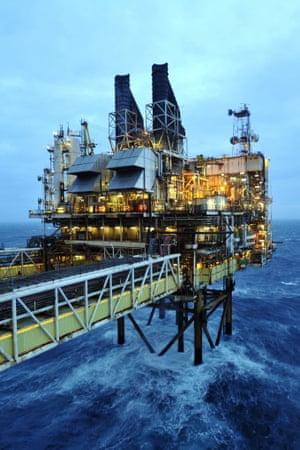 Oil platform in the North Sea.