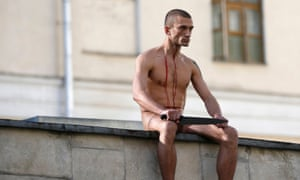 Pavlensky outside a forensic psychiatric institute in Moscow, October 2014.