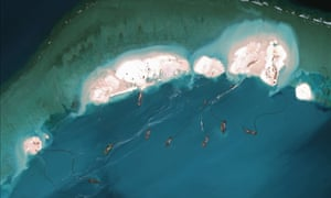 A satellite image of Chinese land reclamation on Mischief Reef in the Spratly Islands.